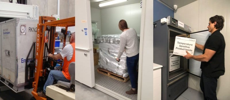 Qualification of shipping containers of different size containers being conditioned in a environmental chamber.