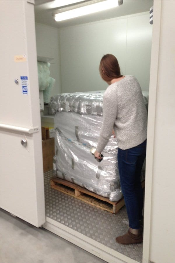 A pallet of medicines packed and ready for testing inside can environmental chamber