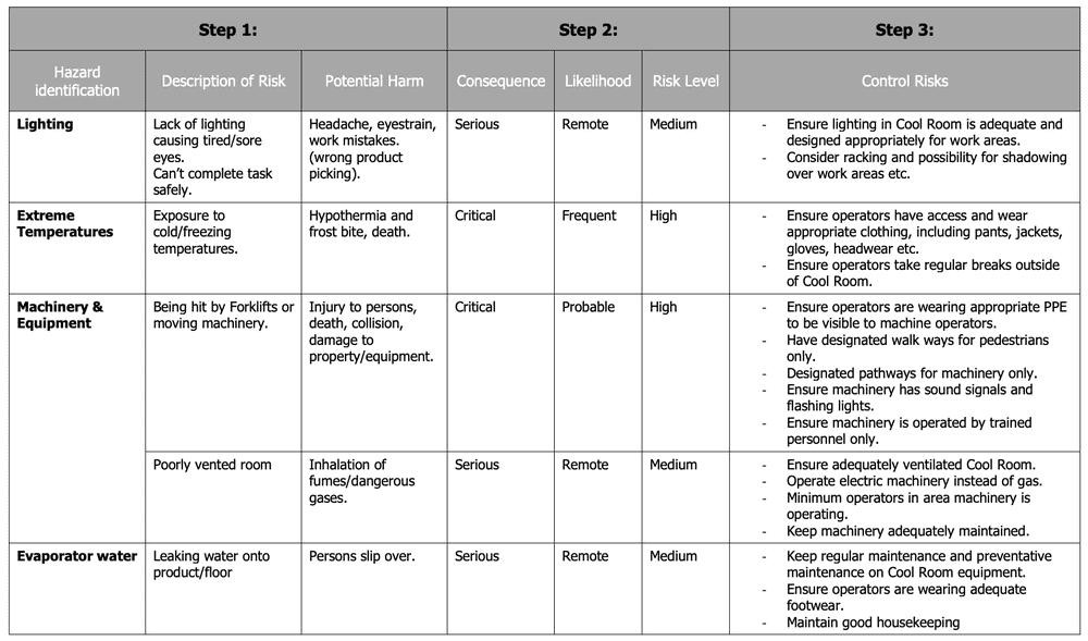 Cool room risk assessment matrix 2