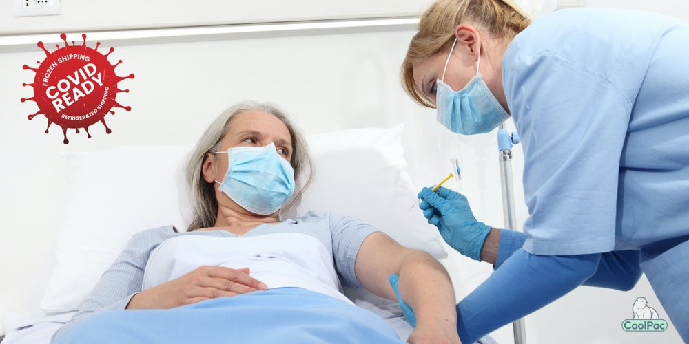 elderly lady getting COVID injection from nurse